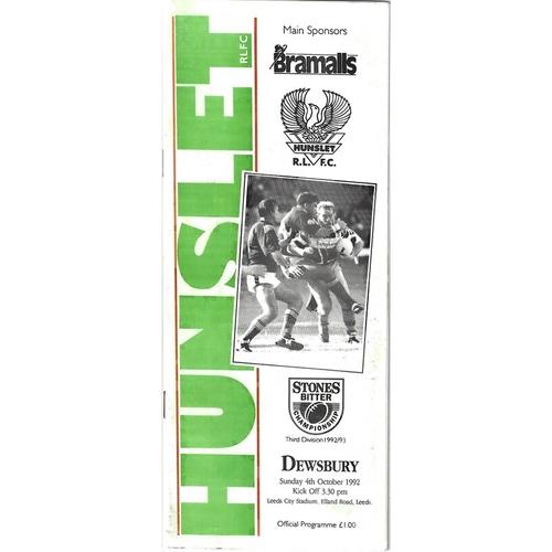 1992/93 Hunslet v Dewsbury Rugby League programme