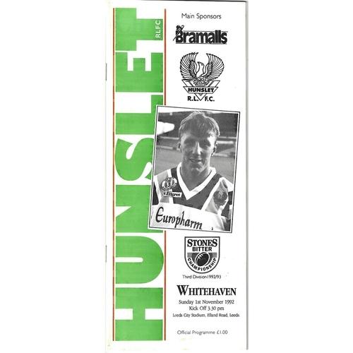 1992/93 Hunslet v Whitehaven Rugby League programme