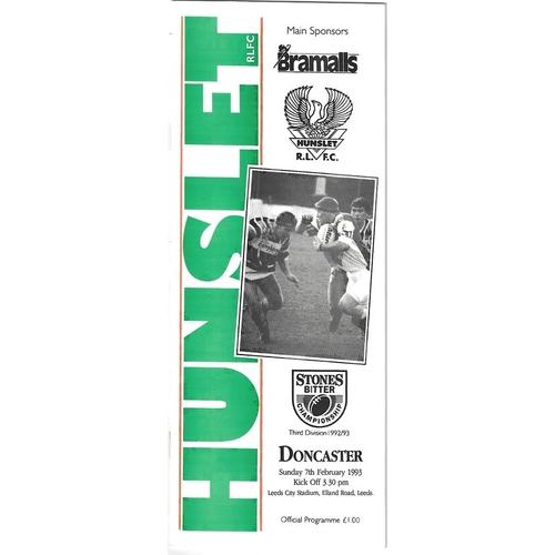 1992/93 Hunslet v Doncaster Rugby League programme
