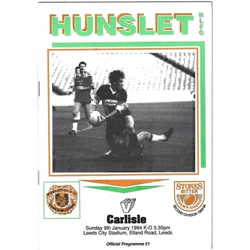 1993/94 Hunslet v Carlisle Rugby League programme