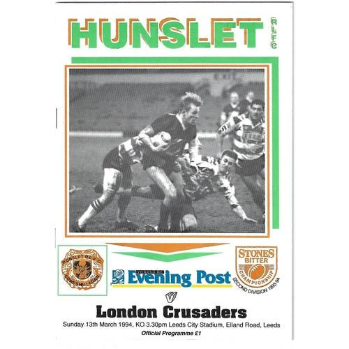 1993/94 Hunslet v London Crusaders Rugby League programme