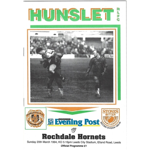 1993/94 Hunslet v Rochdale Hornets Rugby League programme
