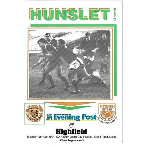1993/94 Hunslet v Highfield Rugby League programme
