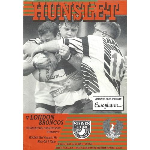 1994/95 Hunslet v London Broncos Rugby League programme