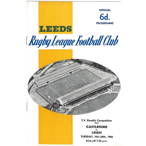 1967/68 Castleford v Leigh BBC2 Floodlight Competition Final Rugby League Programme