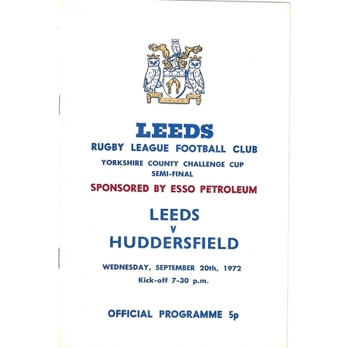 1972 Leeds v Huddersfield Yorkshire County Challenge Cup Semi Final Rugby League Programme