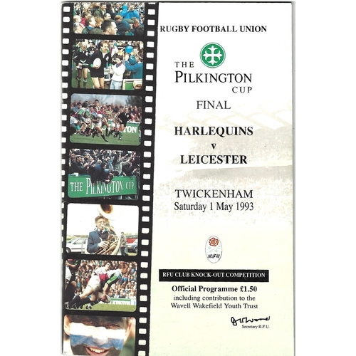 1993 Harlequins v Leicester Pilkington Cup Final Rugby Union Programme & Match Ticket