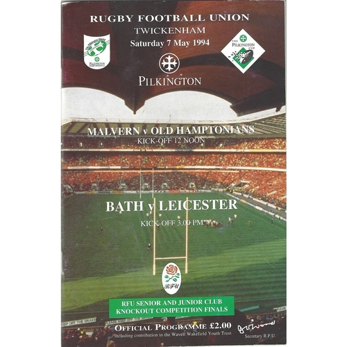 1994 Bath v Leicester Pilkington Cup Final Rugby Union Programme & Match Ticket