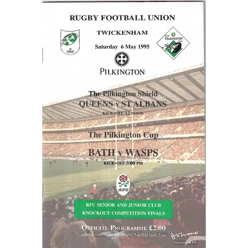 1995 Bath v Wasps Pilkington Cup Final Rugby Union Programme & Match Ticket