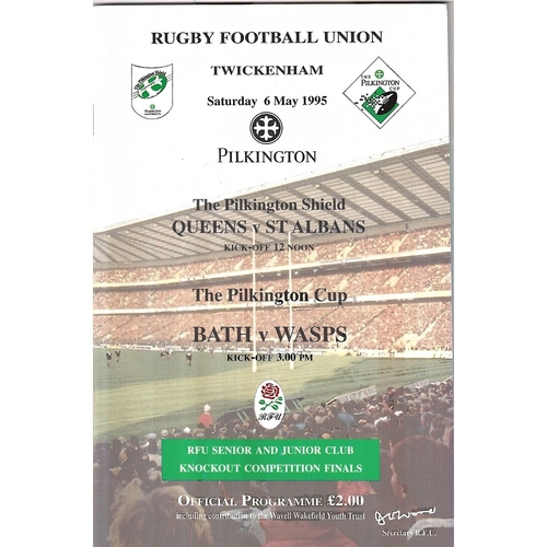 1995 Bath v Wasps Pilkington Cup Final Rugby Union Programme