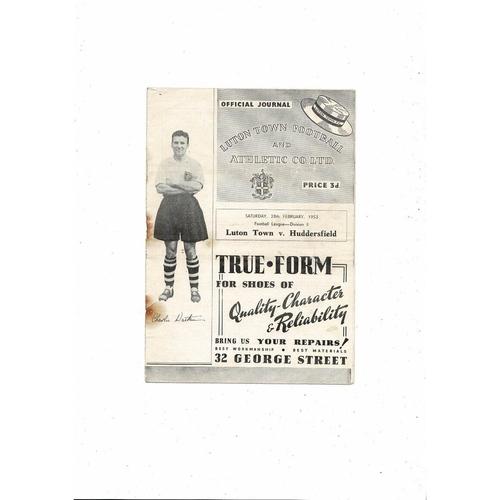 1952/53 Luton Town v Huddersfield Town Football Programme