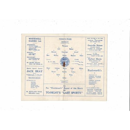 1952/53 Burnley v Arsenal FA Cup Football Programme