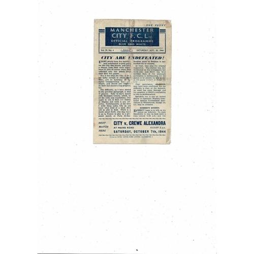 1944/45 Manchester City v Stockport County Football Programme Sept