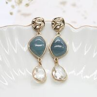 POM Gold plated mixed stone and crystal drop earrings