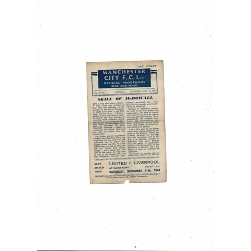 1944/45 Manchester City v Everton Football Programme