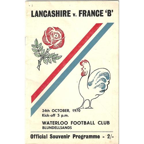 1970 Lancashire v France B Rugby Union Programme