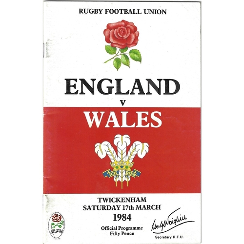 1984 England v Wales 5 Nations Rugby Union Programme