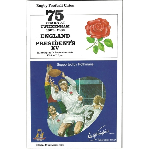 1984 England v Presidents XV 75 Years at Twickenham 1909-1984 Rugby Union Programme