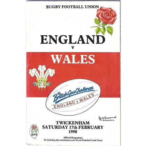 1990 England v Wales 5 Nations Rugby Union Programme