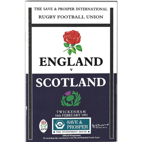 1991 England v Scotland 5 Nations Rugby Union Programme