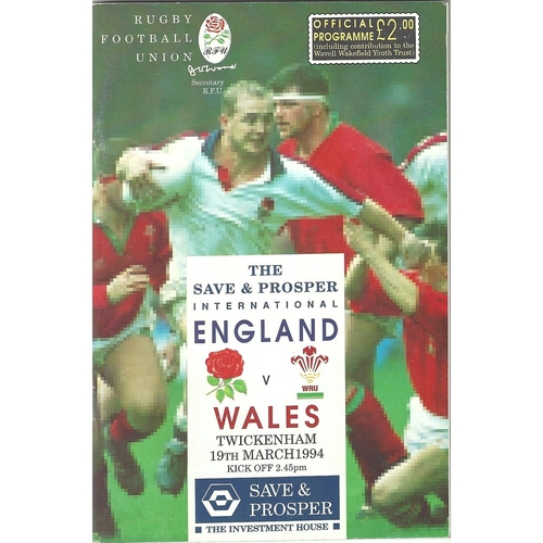 1994 England v Wales 5 Nations Rugby Union Programme