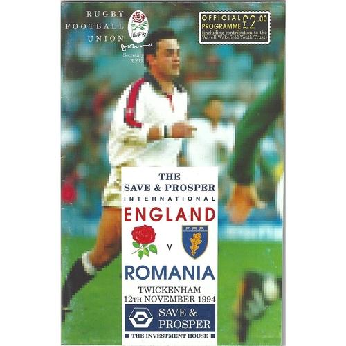 1994 England v Romania International Rugby Union Programme