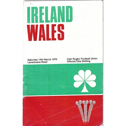 1970 Ireland v Wales 5 Nations Rugby Union Programme