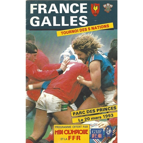 1993 France v Wales 5 Nations Rugby Union Programme