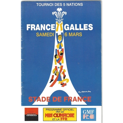 1999 France v Wales 5 Nations Rugby Union Programme