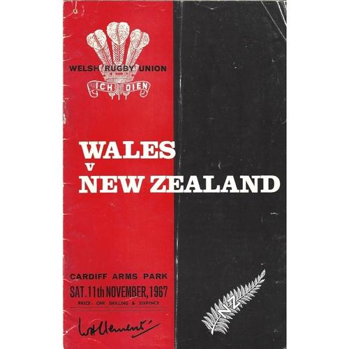 1967 Wales v New Zealand International Rugby Union Programme
