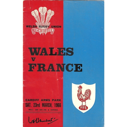 1968 Wales v France 5 Nations Rugby Union Programme