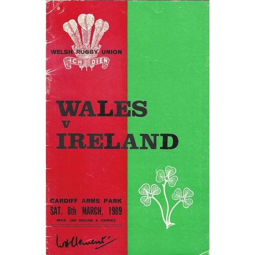 1969 Wales v Ireland 5 Nations Rugby Union Programme