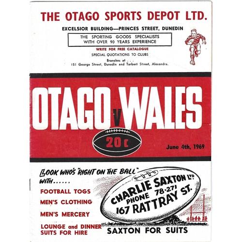 1969 Otago v Wales International Rugby Union Programme