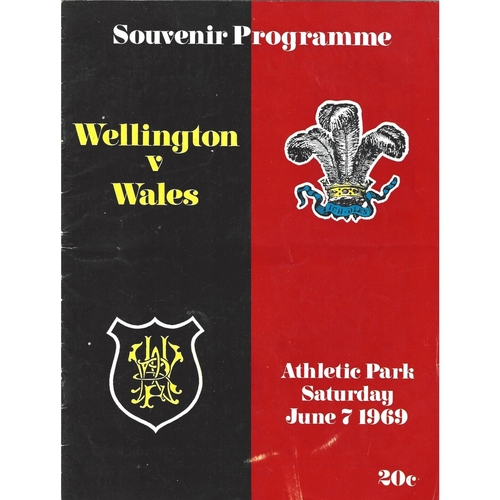 1969 Wellington v Wales International Rugby Union Programme