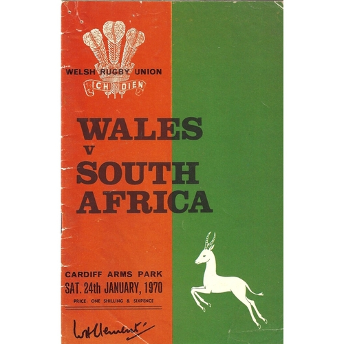 1970 Wales v South Africa International Rugby Union Programme