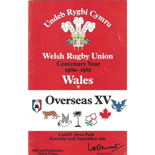 1980 Wales v Overseas XV WRU Centenary Year 1980-1981 International Rugby Union Programme