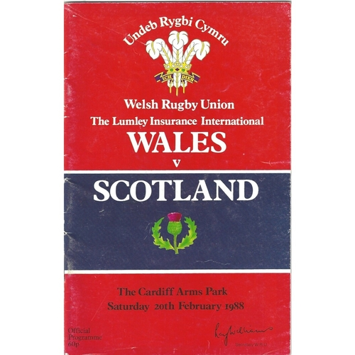 1988 Wales v Scotland 5 Nations Rugby Union Programme