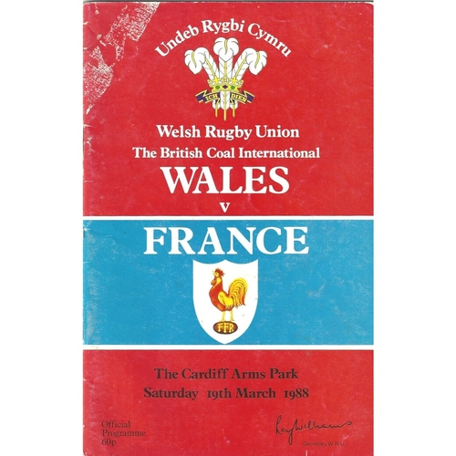 1988 Wales v France 5 Nations Rugby Union Programme