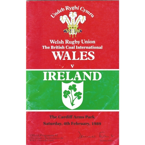 1989 Wales v Ireland 5 Nations Rugby Union Programme
