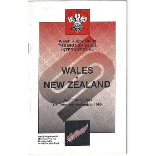 1989 Wales v New Zealand International Rugby Union Programme