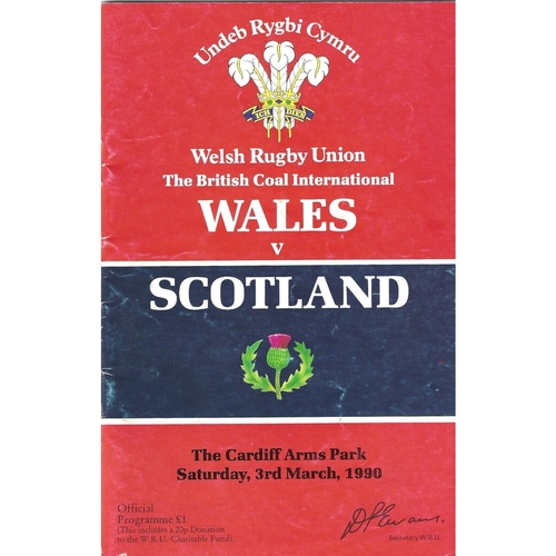 1990 Wales v Scotland 5 Nations Rugby Union Programme