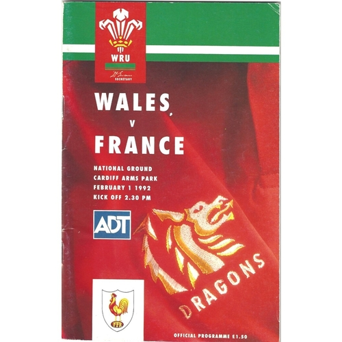 1992 Wales v France 5 Nations Rugby Union Programme