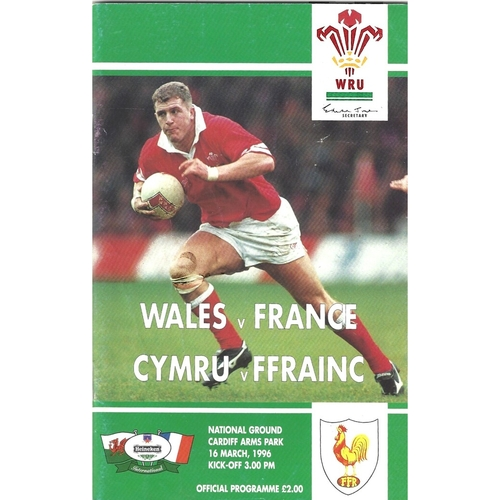 1996 Wales v France 5 Nations Rugby Union Programme