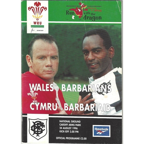 1996 Wales v Barbarians International Rugby Union Programme