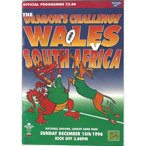 1996 Wales v South Africa International Rugby Union Programme