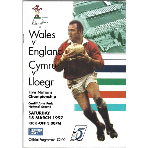 1997 Wales v England 5 Nations Rugby Union Programme