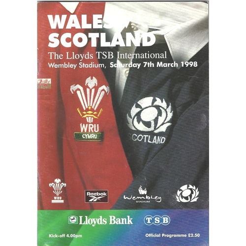 1998 Wales v Scotland 5 Nations Rugby Union Programme