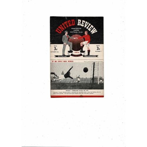 1949/50 Manchester United v Wolves Football Programme