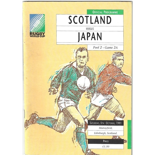 1991 Scotland v Japan Rugby World Cup Pool Game Rugby Union Programme