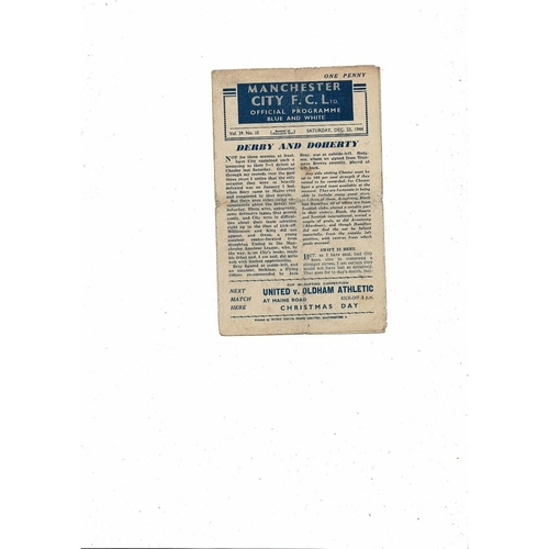 1944/45 Manchester City v Chester City Football Programme